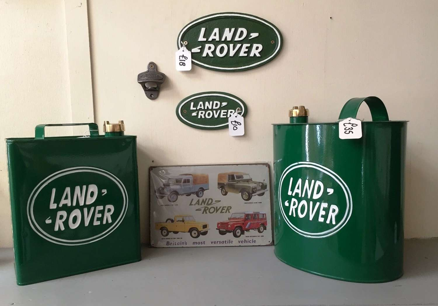 Land Rover Oil Cans, Bottle Opener and Wall Plaques