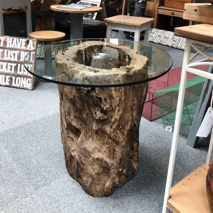 Tree Trunk Base Glass Top Table